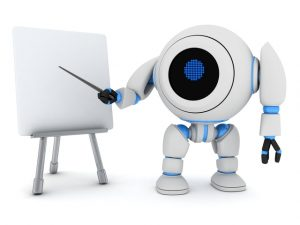 Robot e-learning (done in 3d, on white background)